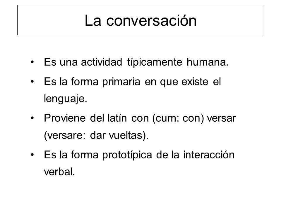 La conversación Es una actividad típicamente humana. Es la forma primaria en que existe el lenguaje. Proviene del latín con (cum: con) versar (versare