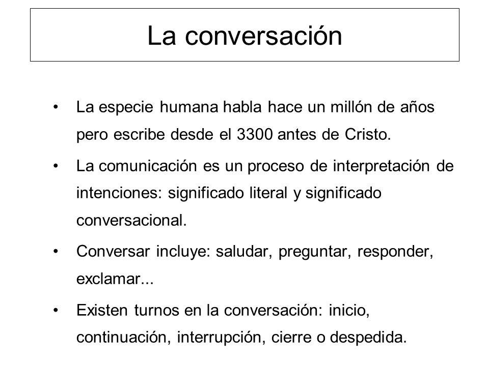 La conversación La especie humana habla hace un millón de años pero escribe desde el 3300 antes de Cristo. La comunicación es un proceso de interpreta