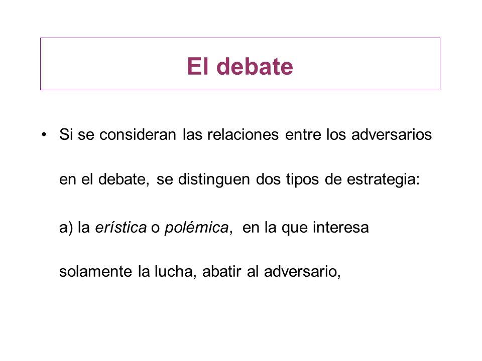 El debate Si se consideran las relaciones entre los adversarios en el debate, se distinguen dos tipos de estrategia: a) la erística o polémica, en la