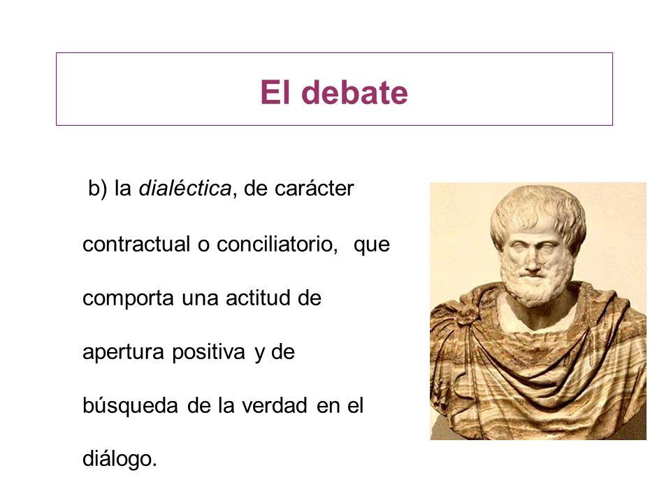 El debate b) la dialéctica, de carácter contractual o conciliatorio, que comporta una actitud de apertura positiva y de búsqueda de la verdad en el di