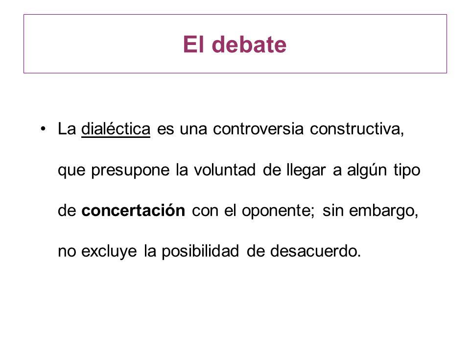 La dialéctica es una controversia constructiva, que presupone la voluntad de llegar a algún tipo de concertación con el oponente; sin embargo, no excl