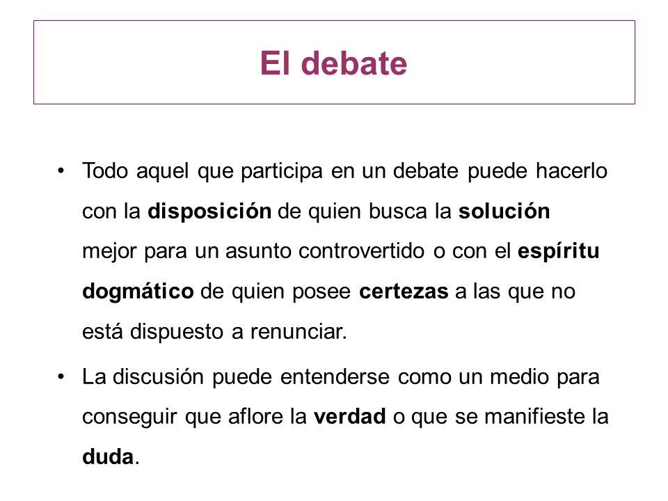 Todo aquel que participa en un debate puede hacerlo con la disposición de quien busca la solución mejor para un asunto controvertido o con el espíritu