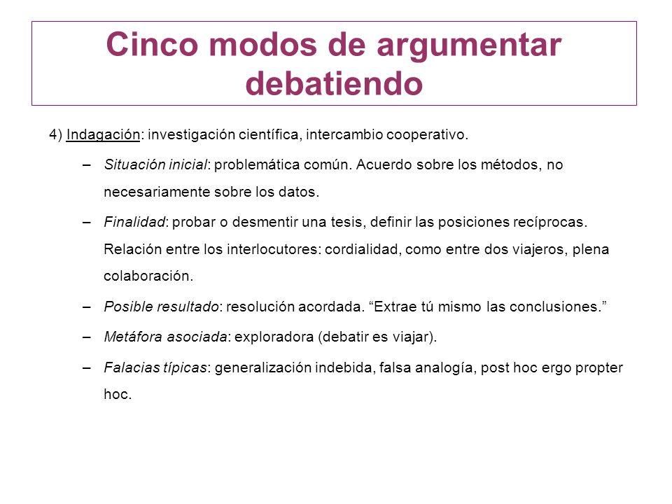 4) Indagación: investigación científica, intercambio cooperativo. –Situación inicial: problemática común. Acuerdo sobre los métodos, no necesariamente