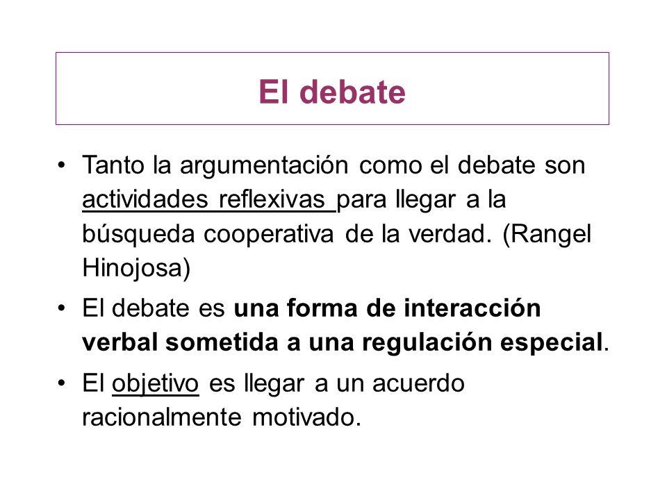 Tanto la argumentación como el debate son actividades reflexivas para llegar a la búsqueda cooperativa de la verdad. (Rangel Hinojosa) El debate es un