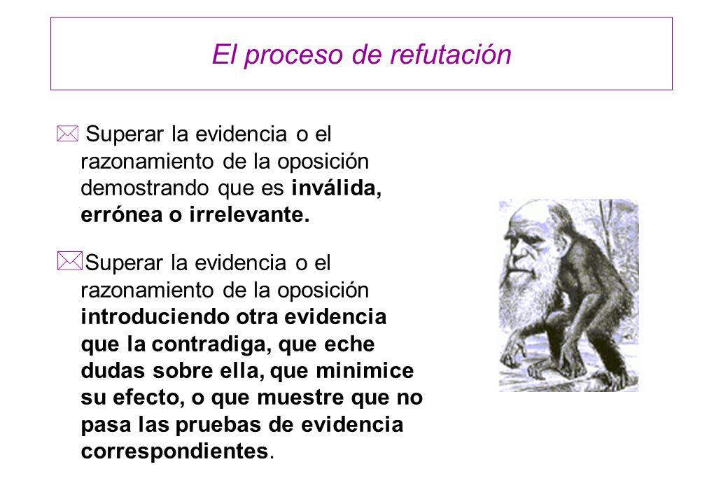 El proceso de refutación * Superar la evidencia o el razonamiento de la oposición demostrando que es inválida, errónea o irrelevante. * Superar la evi