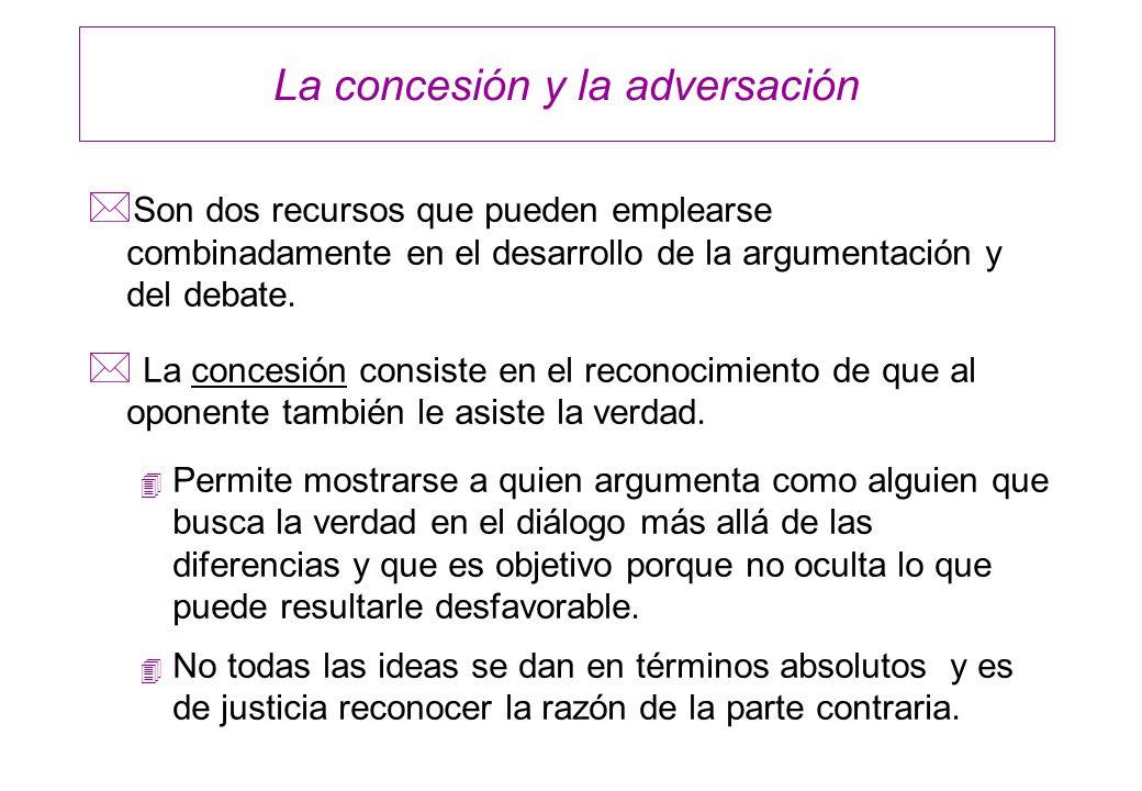 La concesión y la adversación * Son dos recursos que pueden emplearse combinadamente en el desarrollo de la argumentación y del debate. * La concesión