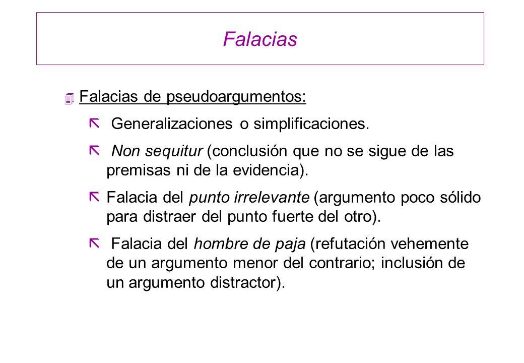 Falacias 4 Falacias de pseudoargumentos: ã Generalizaciones o simplificaciones. ã Non sequitur (conclusión que no se sigue de las premisas ni de la ev