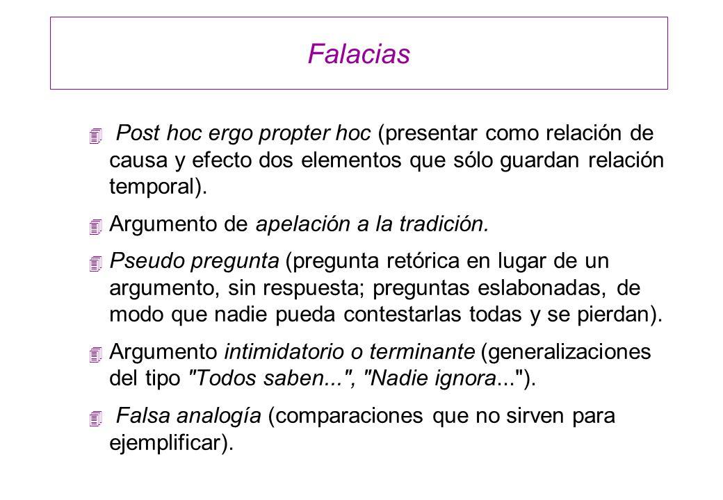 Falacias 4 Post hoc ergo propter hoc (presentar como relación de causa y efecto dos elementos que sólo guardan relación temporal). 4 Argumento de apel