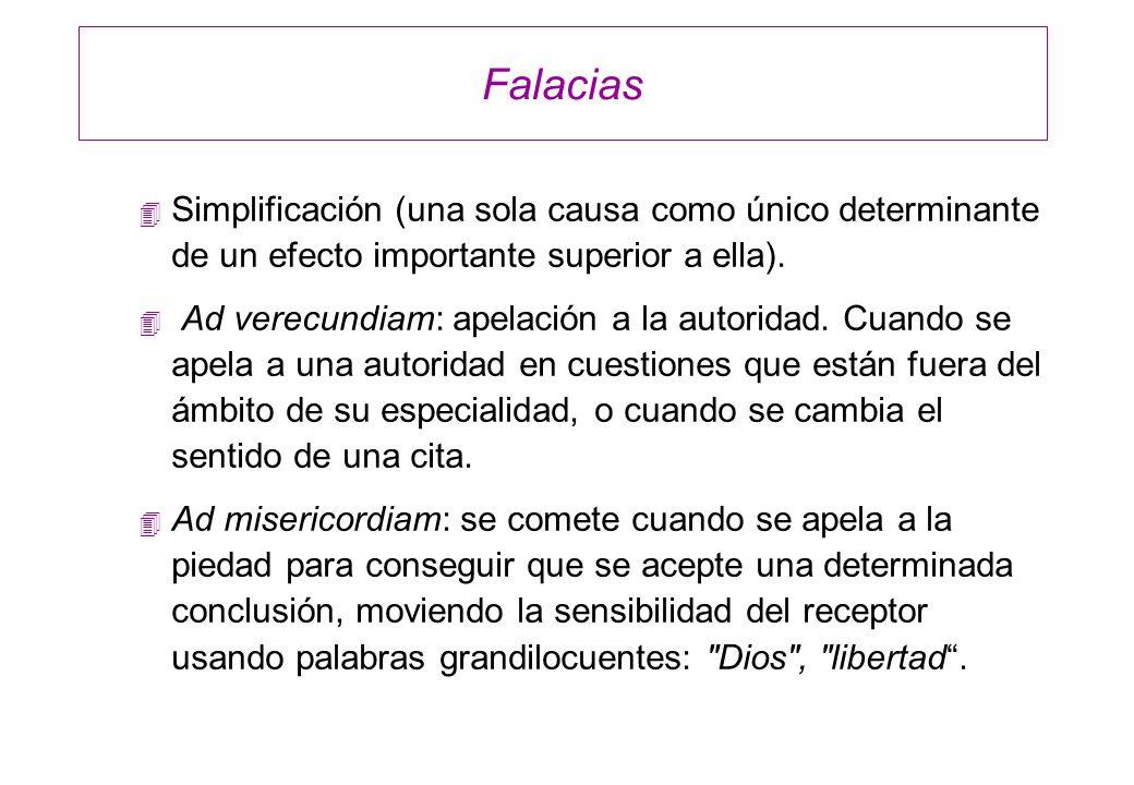 Falacias 4 Simplificación (una sola causa como único determinante de un efecto importante superior a ella). 4 Ad verecundiam: apelación a la autoridad