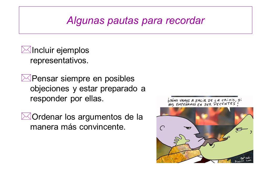 Algunas pautas para recordar * Incluir ejemplos representativos. * Pensar siempre en posibles objeciones y estar preparado a responder por ellas. * Or
