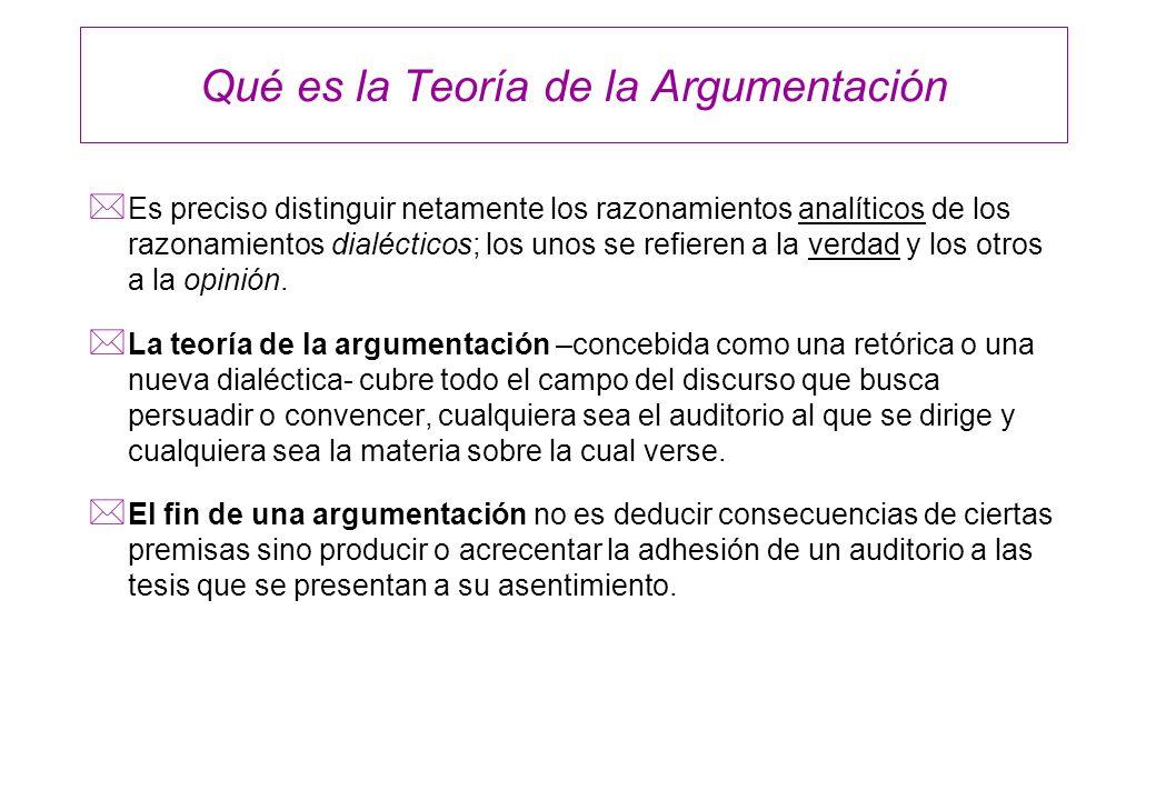 Qué es la Teoría de la Argumentación * Es preciso distinguir netamente los razonamientos analíticos de los razonamientos dialécticos; los unos se refi