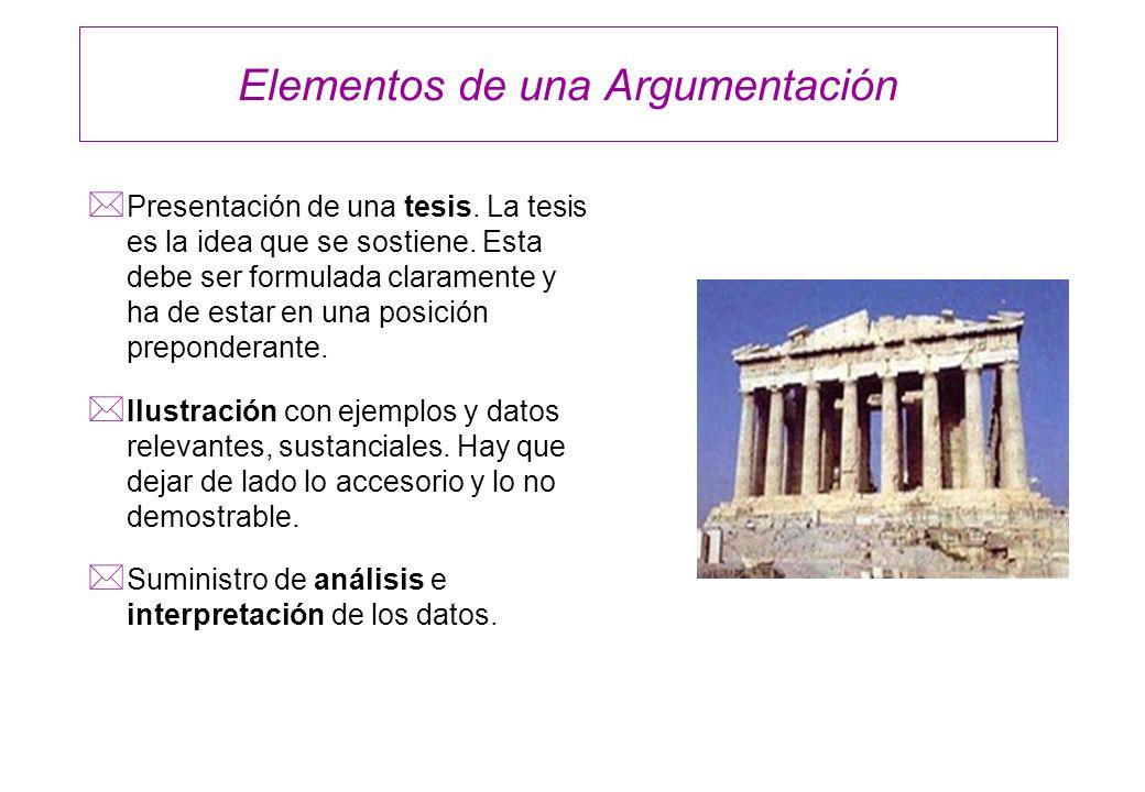 Elementos de una Argumentación * Presentación de una tesis. La tesis es la idea que se sostiene. Esta debe ser formulada claramente y ha de estar en u