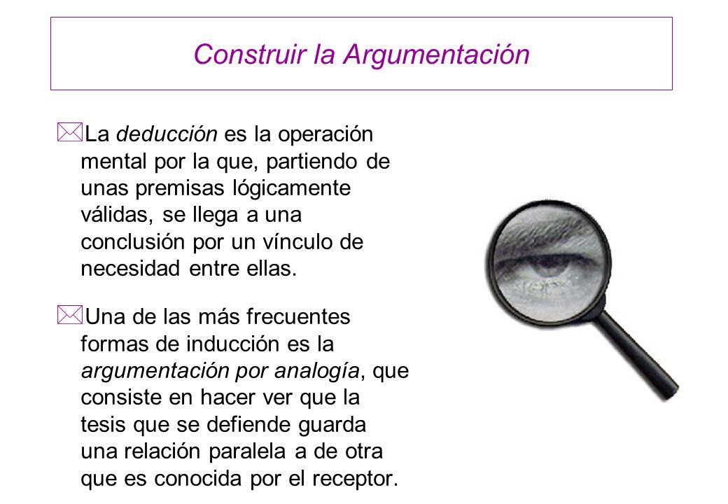 Construir la Argumentación * La deducción es la operación mental por la que, partiendo de unas premisas lógicamente válidas, se llega a una conclusión