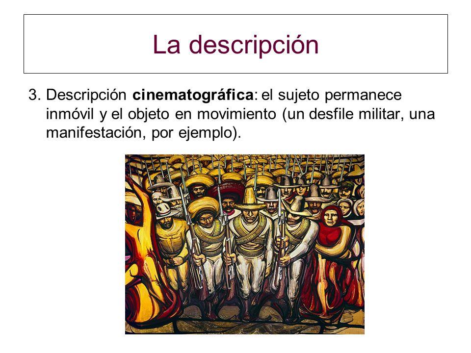 La descripción 3.Descripción cinematográfica: el sujeto permanece inmóvil y el objeto en movimiento (un desfile militar, una manifestación, por ejempl
