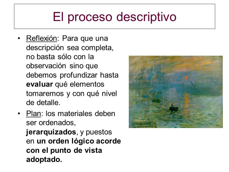 El proceso descriptivo Reflexión: Para que una descripción sea completa, no basta sólo con la observación sino que debemos profundizar hasta evaluar q