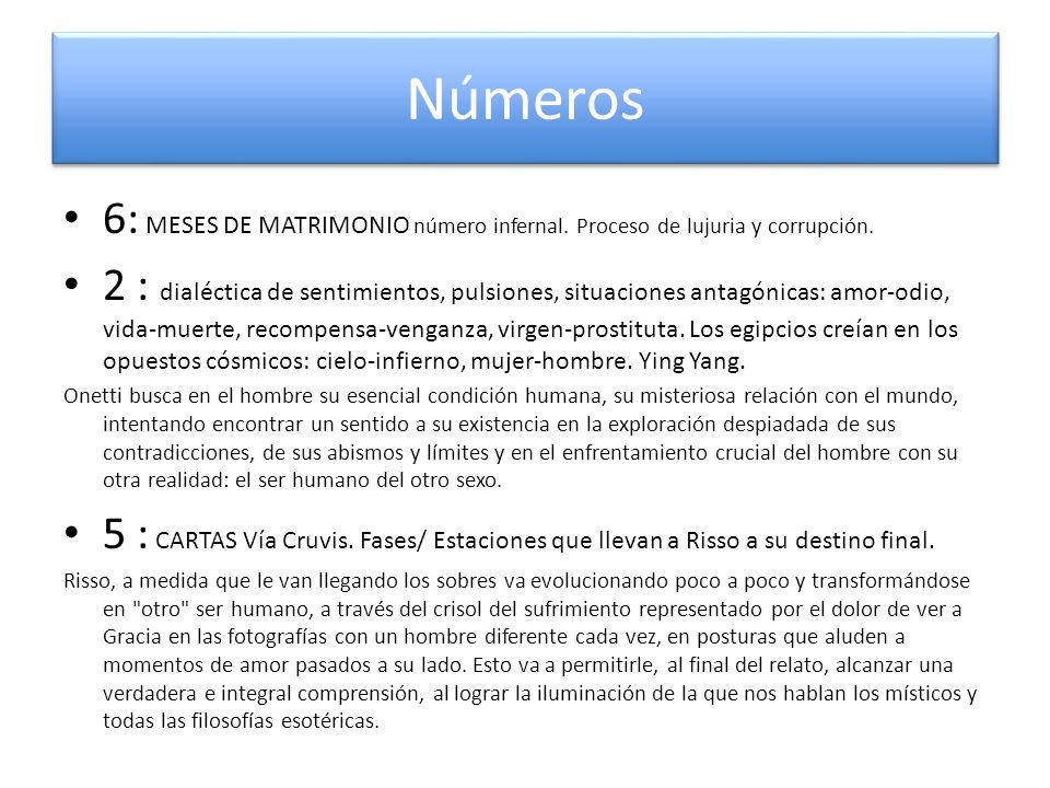 Números 6: MESES DE MATRIMONIO número infernal. Proceso de lujuria y corrupción. 2 : dialéctica de sentimientos, pulsiones, situaciones antagónicas: a
