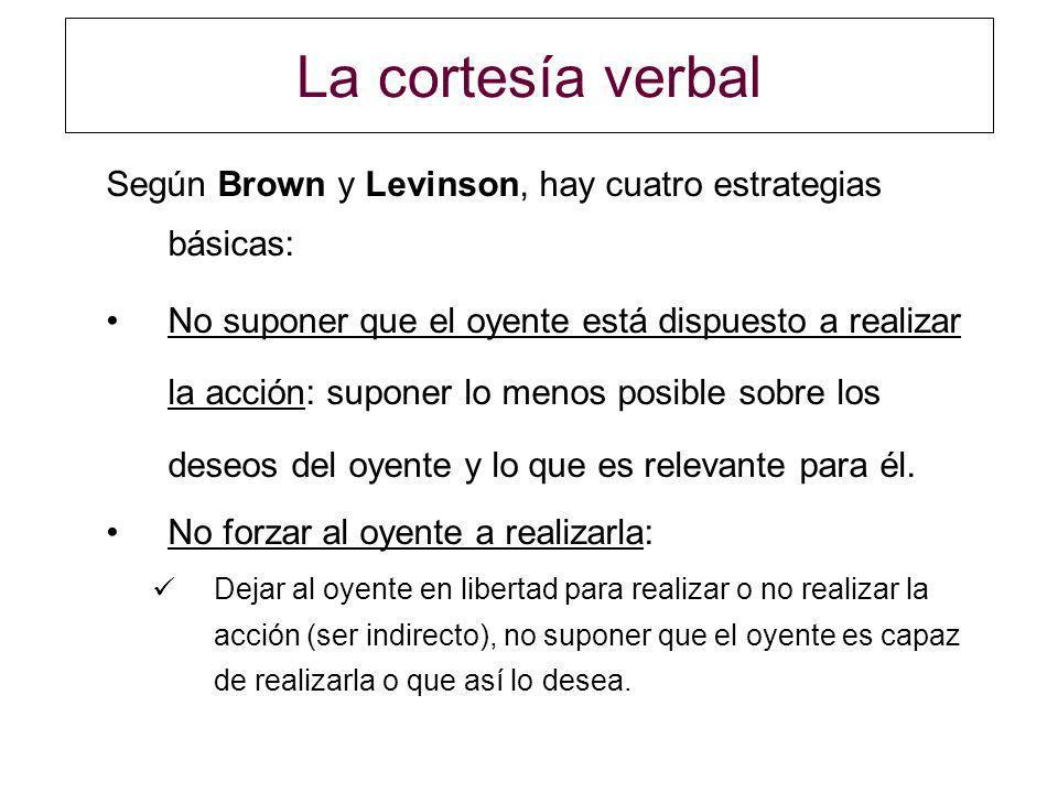 La cortesía verbal Según Brown y Levinson, hay cuatro estrategias básicas: No suponer que el oyente está dispuesto a realizar la acción: suponer lo me