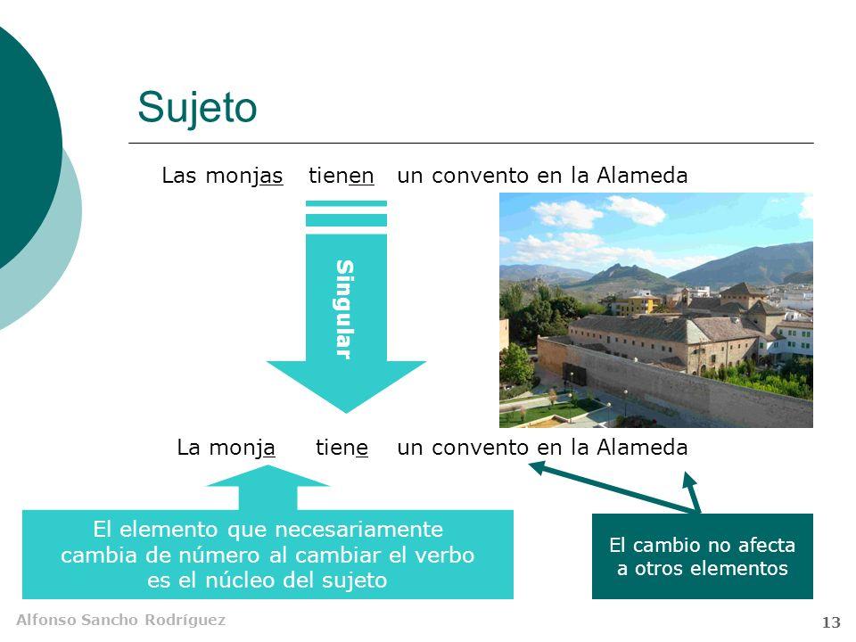 Alfonso Sancho Rodríguez 12 Sujeto Llamamos sujeto al elemento nominal (SN o equivalente) cuyo núcleo determina el número y persona del núcleo del predicado.