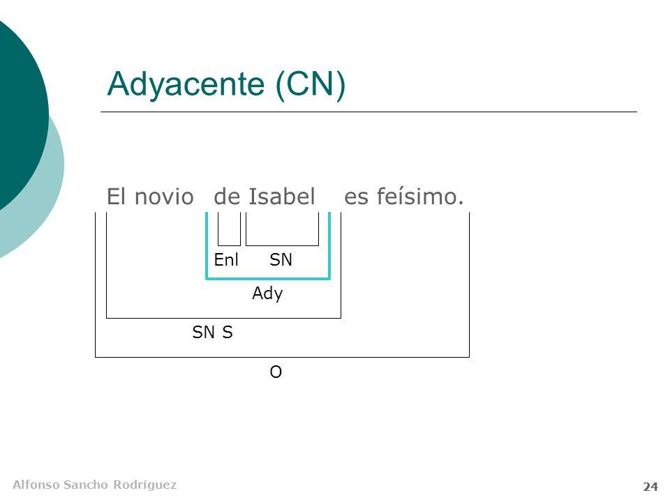 Alfonso Sancho Rodríguez 23 Funciones del SN Sin preposición sujeto (S) complemento directo (CD) atributo (Atr) adyacente (Ady) vocativo (Voc) complemento circunstancial (CC) Con preposición adyacente (Ady) complemento del adjetivo (CAdj) complemento del adverbio (CAdv) complemento directo (CD) complemento indirecto (CI) complemento circunstancial (CC) suplemento (Supl) suplemento indirecto (Supl Ind) complemento agente (CAg)
