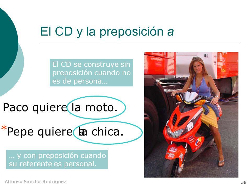 Alfonso Sancho Rodríguez 37 El complemento directo (CD) El complemento directo es un sustantivo o unidad equivalente que algunos verbos exigen para completar su referencia.