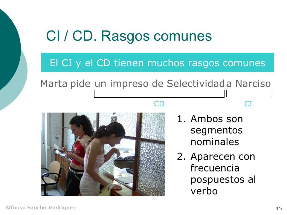 Alfonso Sancho Rodríguez 44 El complemento indirecto (CI) Semánticamente indica… No es necesario que su referente sea animado… A ese camión le faltan