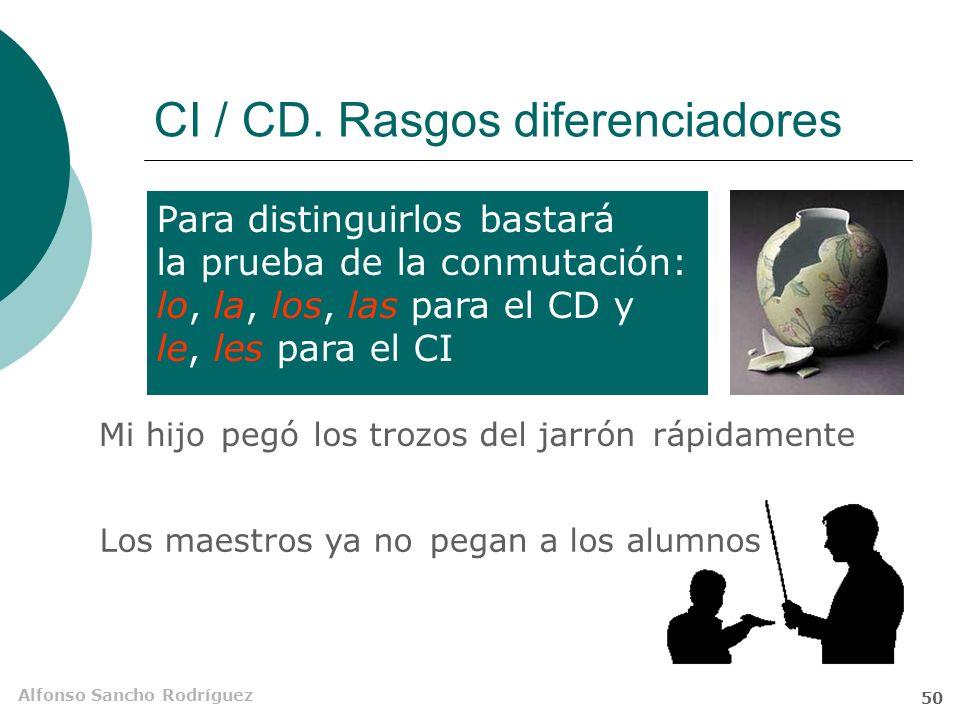 Alfonso Sancho Rodríguez 49 CI / CD. Rasgos comunes 6.Ambos pueden ir precedidos de la preposición a No echa de menos a Paco Los psicólogos recomienda