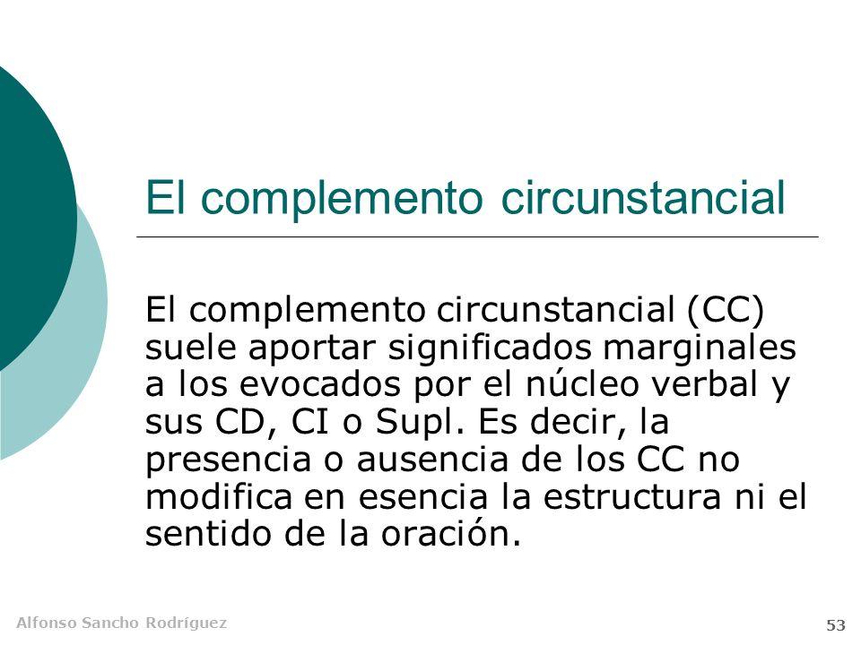 Alfonso Sancho Rodríguez 52 ¿CI con para? La única preposición que puede preceder al CI es a Los complementos con para son siempre circunstanciales Un