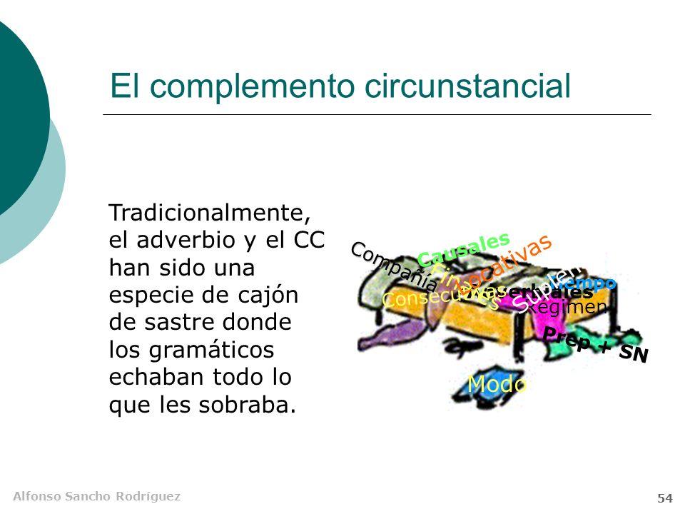 Alfonso Sancho Rodríguez 53 El complemento circunstancial El complemento circunstancial (CC) suele aportar significados marginales a los evocados por el núcleo verbal y sus CD, CI o Supl.