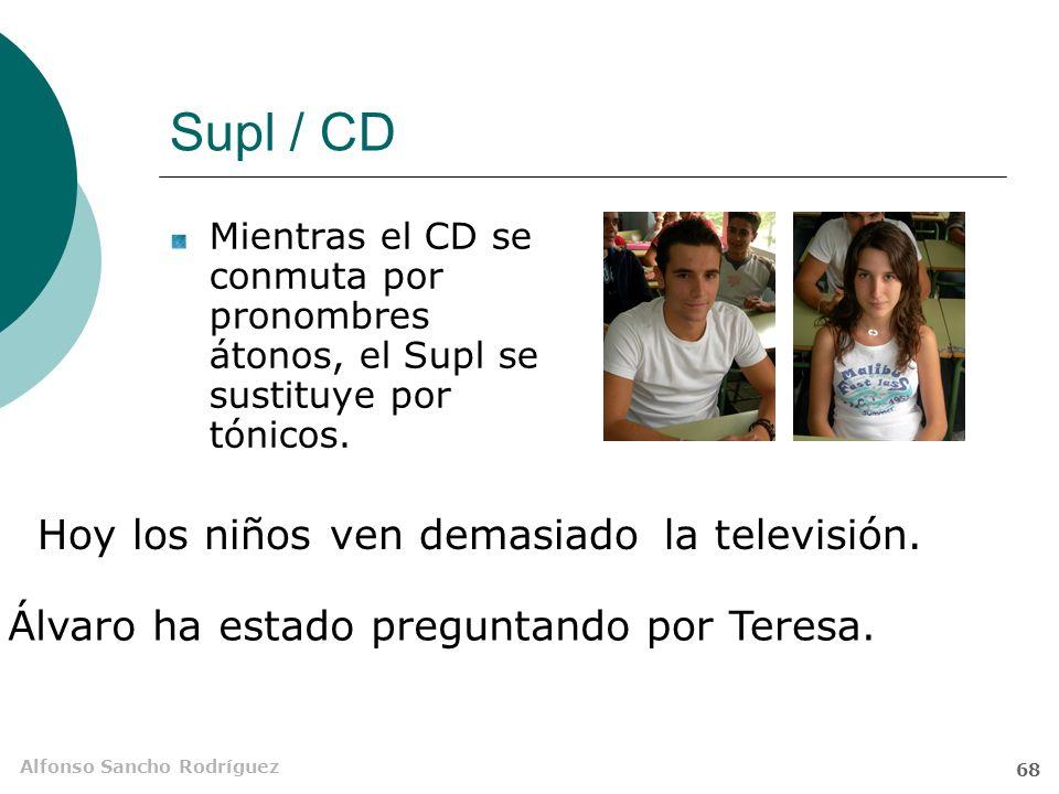 Alfonso Sancho Rodríguez 67 El suplemento (Supl) Es un SN o unidad equivalente que ciertos verbos necesitan para completar su significado. Se asemeja