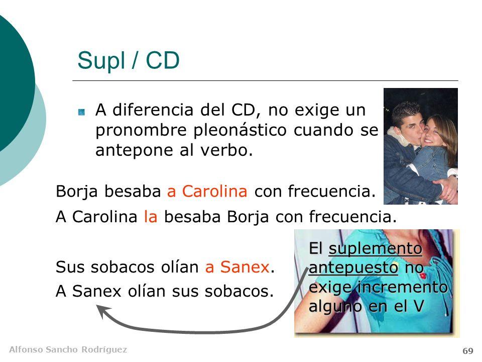 Alfonso Sancho Rodríguez 68 Supl / CD Mientras el CD se conmuta por pronombres átonos, el Supl se sustituye por tónicos. Hoy los niños Álvaro ha estad
