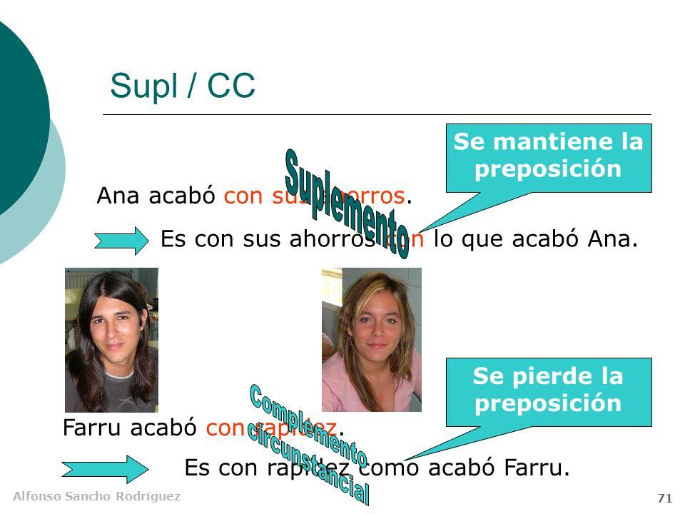 Alfonso Sancho Rodríguez 70 Supl / CD El CD puede construirse sin preposición, el Supl necesita de la preposición seleccionada por el verbo.
