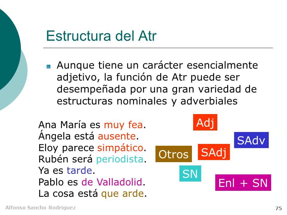 Alfonso Sancho Rodríguez 74 El atributo (Atr) Es un SAdj (también SN u otros segmentos más complejos) que limita la aplicación designativa de un reducido número de verbos llamados atributivos o copulativos.