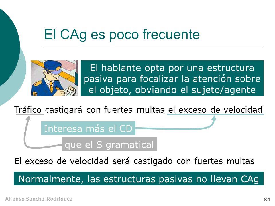 Alfonso Sancho Rodríguez 83 El complemento agente (C Ag) Es un SN o unidad equivalente, precedida de por o de, que se puede incluir en O pasivas perif