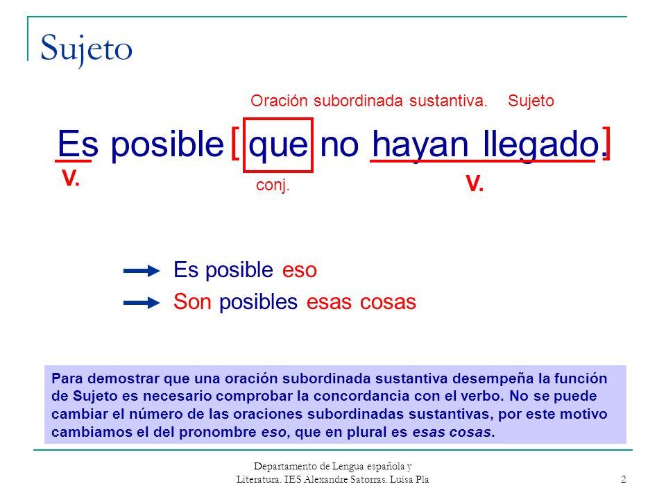 Departamento de Lengua española y Literatura. IES Alexandre Satorras. Luisa Pla 2 Sujeto Es posible que no hayan llegado. Es posible eso Son posibles