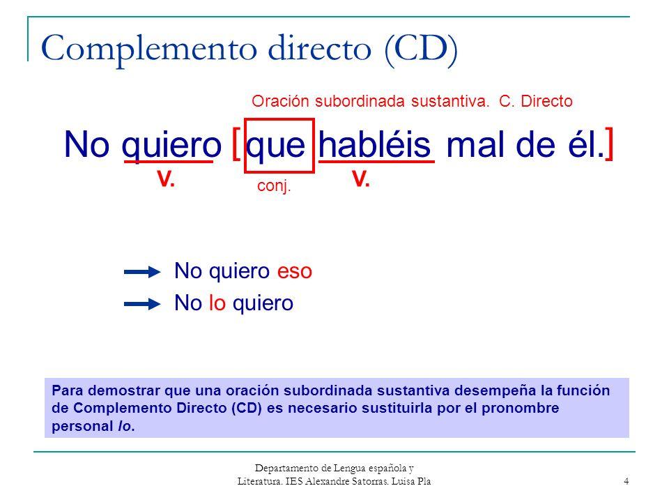 Departamento de Lengua española y Literatura. IES Alexandre Satorras. Luisa Pla 4 Complemento directo (CD) No quiero que habléis mal de él. No quiero