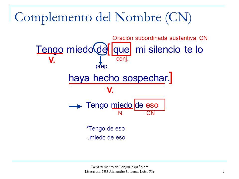 Departamento de Lengua española y Literatura. IES Alexandre Satorras. Luisa Pla 6 Complemento del Nombre (CN) Tengo miedo de que mi silencio te lo hay