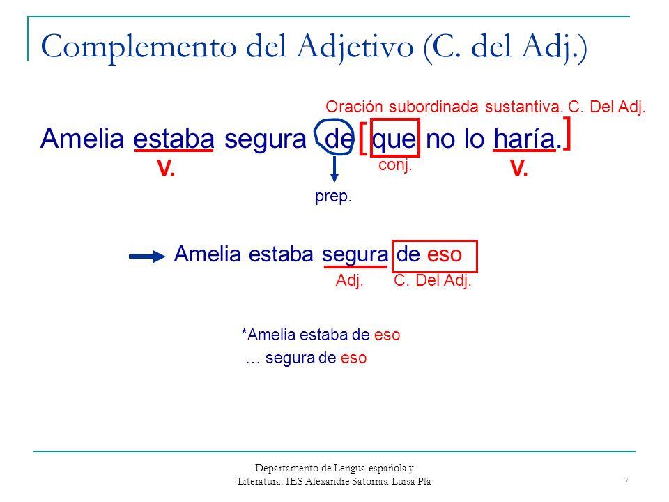 Departamento de Lengua española y Literatura. IES Alexandre Satorras. Luisa Pla 7 Complemento del Adjetivo (C. del Adj.) Amelia estaba segura de que n