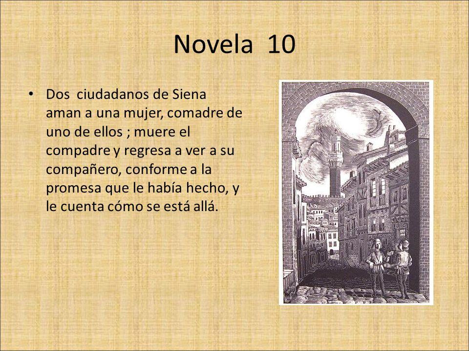 Novela 10 Dos ciudadanos de Siena aman a una mujer, comadre de uno de ellos ; muere el compadre y regresa a ver a su compañero, conforme a la promesa