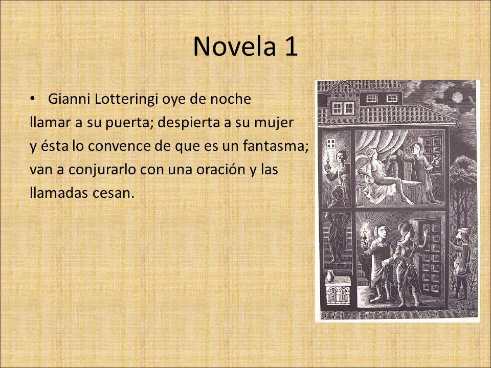 Novela 1 Gianni Lotteringi oye de noche llamar a su puerta; despierta a su mujer y ésta lo convence de que es un fantasma; van a conjurarlo con una or