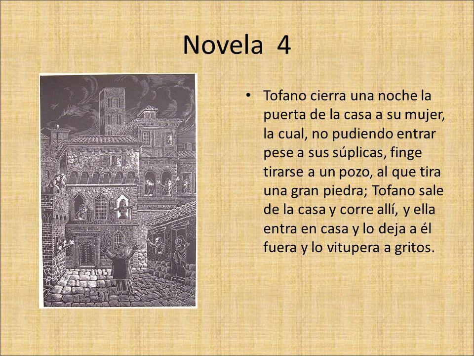 Novela 4 Tofano cierra una noche la puerta de la casa a su mujer, la cual, no pudiendo entrar pese a sus súplicas, finge tirarse a un pozo, al que tir
