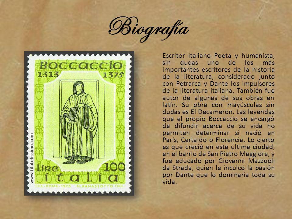 Biografía Escritor italiano Poeta y humanista, sin dudas uno de los más importantes escritores de la historia de la literatura, considerado junto con