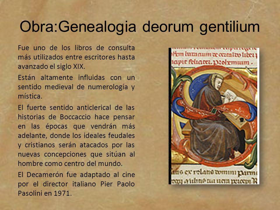 Obra:Genealogia deorum gentilium Fue uno de los libros de consulta más utilizados entre escritores hasta avanzado el siglo XIX. Están altamente influi