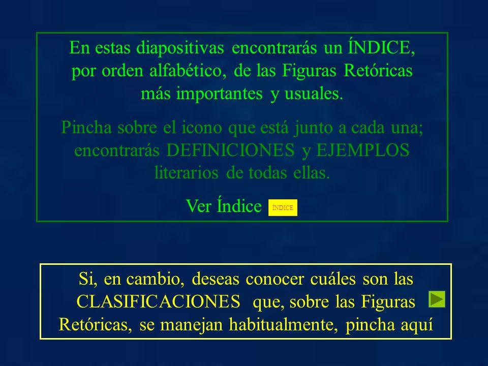 En estas diapositivas encontrarás un ÍNDICE, por orden alfabético, de las Figuras Retóricas más importantes y usuales. Pincha sobre el icono que está