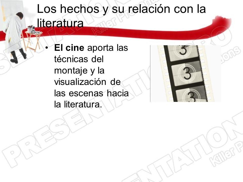 Los hechos y su relación con la literatura El cine aporta las técnicas del montaje y la visualización de las escenas hacia la literatura.