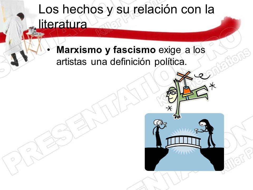 Los hechos y su relación con la literatura Marxismo y fascismo exige a los artistas una definición política.