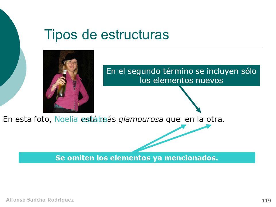 Alfonso Sancho Rodríguez 118 Tipos de estructuras Alfonso tiene más cabeza quetú. tiene cabeza s Sin recurrir a la elipsis no se pueden justificar cie