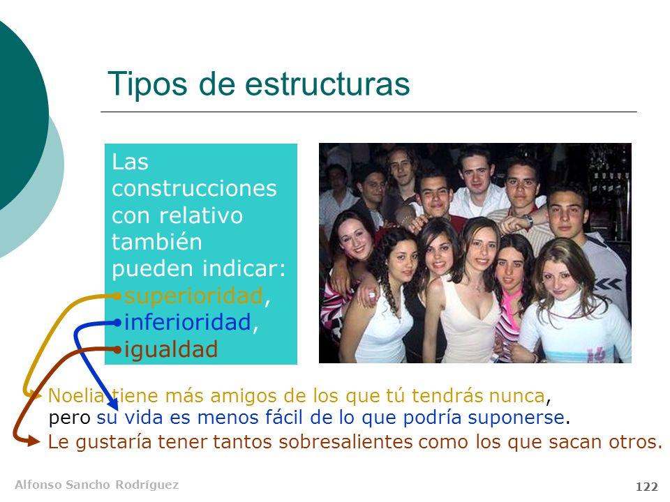 Alfonso Sancho Rodríguez 121 Tipos de estructuras El peinado de Verónica es más común de lo que yo suponía. O SN S SV P NSAdj Atr Estr. comparativa co