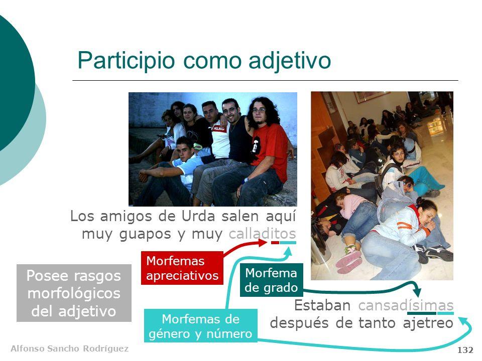 Alfonso Sancho Rodríguez 131 Gerundio como adverbio Carece de morfemas de género y número Acepta morfemas apreciativos Comparte rasgos morfológicos co