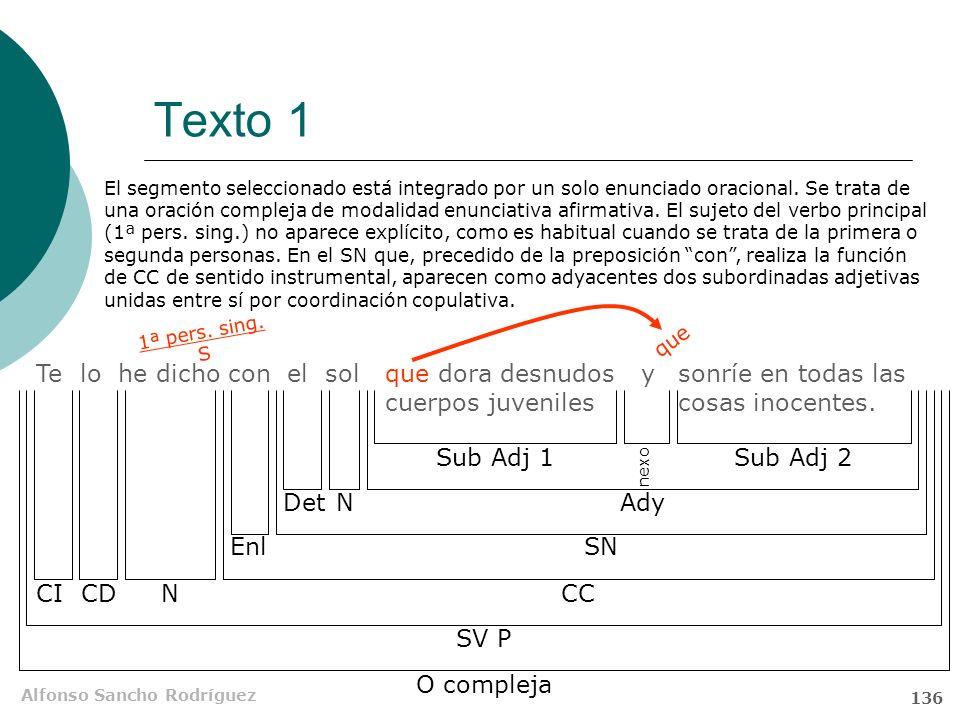 Alfonso Sancho Rodríguez 135 Texto 1 Te lo he dicho con el sol que dora desnudos cuerpos juveniles y sonríe en todas las cosas inocentes. Funciones si