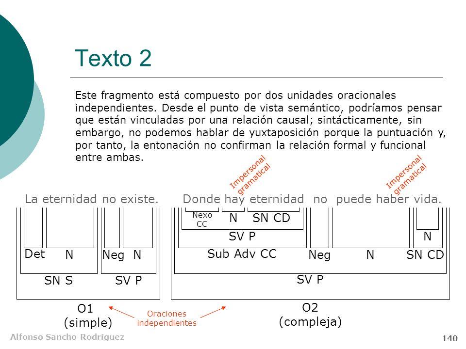 Alfonso Sancho Rodríguez 139 Texto 2 La eternidad no existe. Donde hay eternidad no puede haber vida. funciones sintácticas a) Explique las funciones